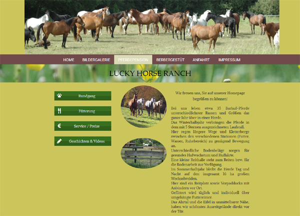 Pensionspferdehaltung Lucky Horse Ranch - Screenshot Internetseite